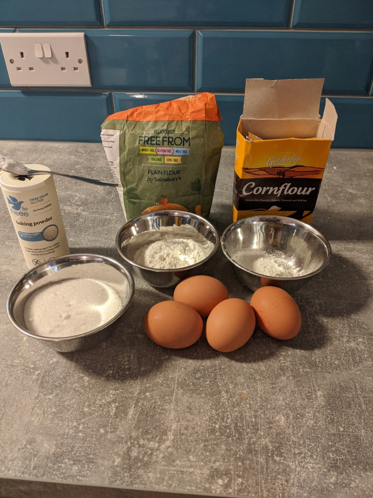 Ingredients of the cake.