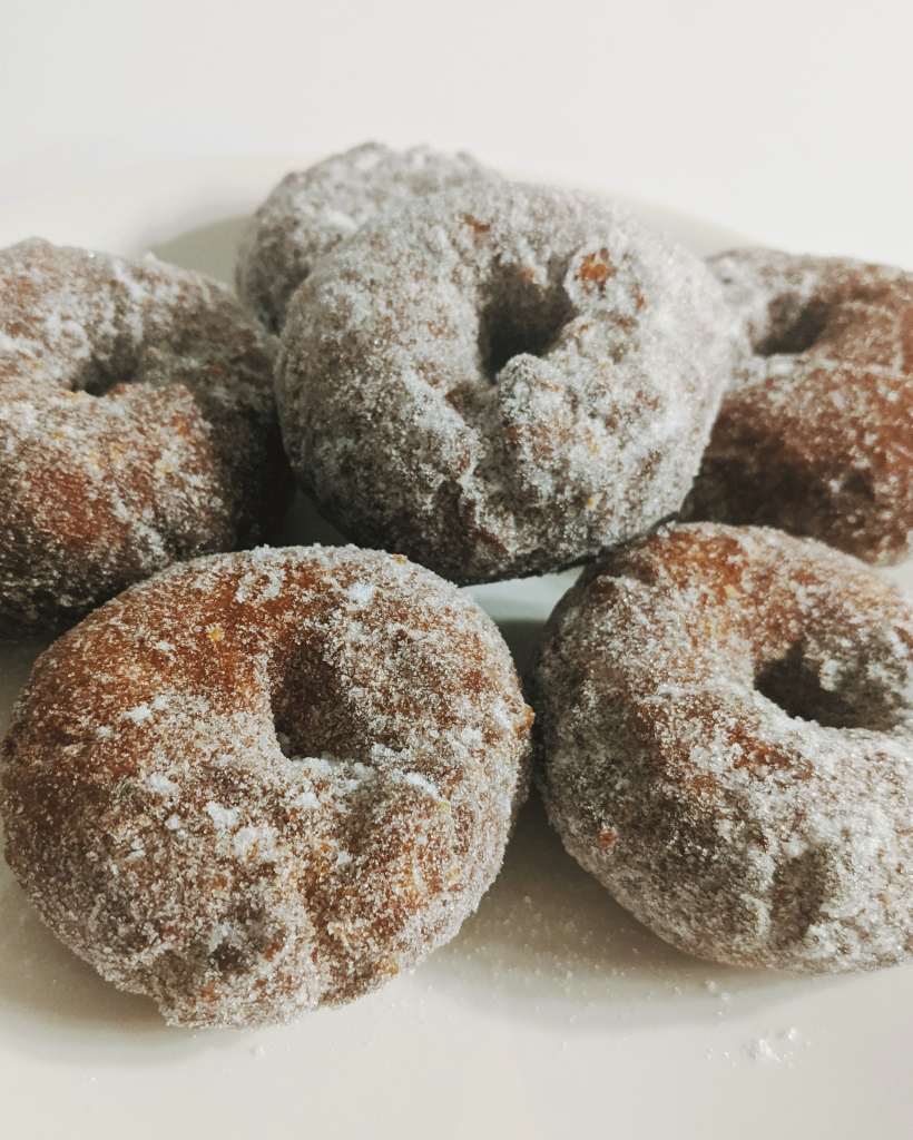 Sugar-coated yeasted dougnuts are a Finnish May Day treat.
